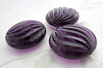 8 pcs. chunky amethyst purple plastic swirly ridged faceted beads 30x13mm - f6729