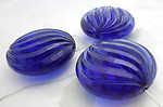 8 pcs. chunky cobalt blue plastic swirly ridged faceted beads 30x13mm - f6730