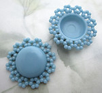 4 pcs. blue plastic domes w flower border cabochons 32mm - f6744