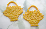 5 pcs. yellow plastic flower basket two sided pendant charms 44x42mm - f6793