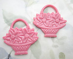5 pcs. pink plastic flower basket two sided pendant charms 44x42mm - f6794