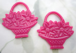 5 pcs. pink plastic flower basket two sided pendant charms 44x42mm - f6795