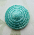 2 pcs. glass green mottled concentric circle flat back cabochons 17mm - f6830
