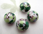12 pcs. glass w green splotches cabochons 8 to 9mm - f6856