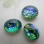 10 pcs. glass green w foil inclusion and inner glow cabochons 8x6mm - f6872