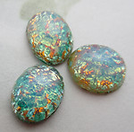 8 pcs. glass green fire opal oval flat back cabochons 10x8mm - f6875