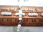 3 feet glass white connector rosary bead chain on silver tone wire 4mm wide - f6883