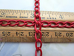 3 feet pre cut red cold enamel curb chain 5mm wide - f6892