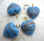 12 pcs. glass blue w gold stripe heart charms 15x14mm - f6913