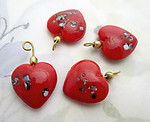 12 pcs. glass red speckled heart charms 15x14mm - f6916