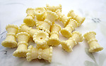 18 pcs. plastic yellow cinched beads 19x13mm - f6933