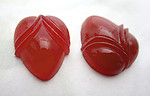 4 pcs. glass carnelian acorn flat back cabochons 15x12mm - f6934
