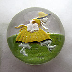 glass reverse painted intaglio woman in yellow dress cabochon 15mm - f6935
