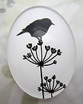 Glass flat back black and white cabochon w bird 40x30mm - f6943