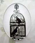 Glass flat back black and white cabochon w bird 40x30mm - f6947