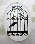 Glass flat back black and white cabochon w bird 40x30mm - f6948