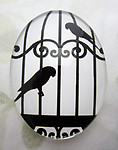 Glass flat back black and white cabochon w bird 40x30mm - f6953