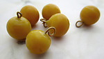 18 pcs. glass yellow round ball charms 11x10mm - f6967