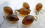 18 pcs. glass smoky topaz oval drop charms 16x9mm - f6968