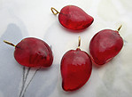 12 pcs. glass red flattened drop charms 19x14mm - f6969