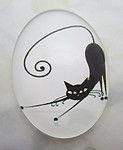 Glass black and white cat cabochon 40x30mm - f6979