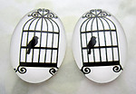 4 pcs. glass black and white bird flat back cabochons 25x18mm - f6994