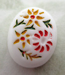 2 pcs. glass white painted intaglio floral flower flat back cabochons 10x8mm - f7074