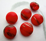 6 pcs. glass red w gold streak flakes shank buttons ss48 - f7081
