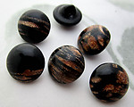 6 pcs. glass black w gold streak flakes shank buttons ss48 - f7082