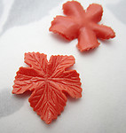 6 pcs. plastic coral orange leaf findings 19x19mm - f7101