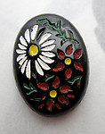 glass painted intaglio floral flower flat back cabochon 18x13mm - f7107