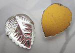2 pcs. glass clear foiled leaf flat back cabochons 18x14mm - f7108