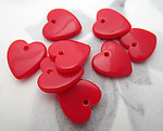 24 pcs. plastic red heart charms 14x13mm - f7159