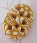 4 pcs. ochre pierced molded floral flower relief plastic flat back cabochons 26x19mm - r194