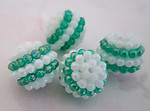 12 pcs. green & white stripe plastic berry beads 15mm - r209