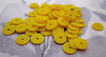 220 pcs. yellow plastic matte disk beads sequin 6x.5mm - r217