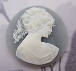 3 pcs. gray blue resin cameo flat back cabochons 30mm - r227