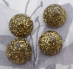 12 pcs. gold glitter sparkly resin flat back cabochons 16mm - r242