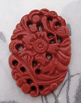 carved celluloid faux cinnabar pierced floral flat back cabochon 31x22mm - r251