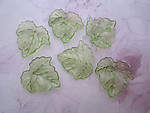 18 pcs. green plastic leaf charms 23x22mm - r267