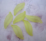 18 pcs. frosted lucite yellow leaf charms 40x14mm - r274