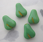 4 pcs. Czech glass fruit salad green w yellow painted intaglio pear beads 16x12mm - r360