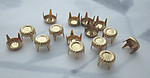 45 pcs. raw brass pronged stampings round studs 5mm - r369