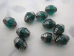 10 pcs. Czech glass blue zircon emerald green w silver cathedral beads 10x8mm - r381