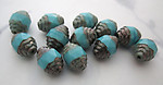 10 pcs. Czech glass turquoise blue w antiqued silver cathedral beads 10x8mm - r385