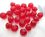 25 pcs. Czech glass red flower beads 8mm - r396