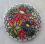 glass hand painted faux mosaic flower bouquet floral relief cameo flat back cabochon 27mm - r417
