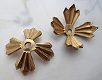5 pcs. raw brass art deco flower stampings w rivet hole or beads 23mm -r432