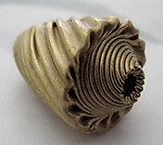 3 pcs. raw brass fancy twist corrugated beads 18x13mm - r445