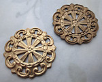 4 pcs. raw brass filigree stampings 24mm - r450